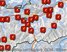 Map: Skiing areas in Tyrol